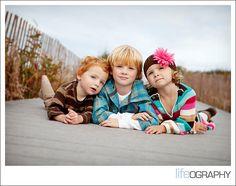tummy shot! three kids. wear colorful clothing. Straighten that horizon line!!