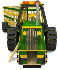 detailed wood tractor w/ big wheels and trailer for kids