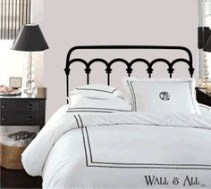 Headboard Decal; if I'm not rich enough to have an actual bed like that... this will do :)