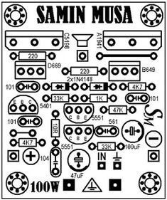 layout atas mini amplifier 100 watt Circuit Board Design, Hifi Amplifier, Electronic Schematics, Muse, The 100, Layout, Projects To Try, Bluetooth, Electronic Circuit