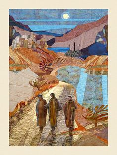 Jesus Art Print featuring the painting Road To Emmaus by Michael Torevell Catholic Art, Religious Art, Road To Emmaus, A4 Poster, Jesus Art, Prophetic Art, Biblical Art, Church Banners, Eucharist
