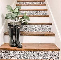 Amalfi Peel and Stick Stair Riser Vinyl Strip Self Adhesive Waterproof Easy to Trim Repositionable Removable DIY Decor-Pack of 5 Strips by Bleucoin Tile Stairs, Flooring For Stairs, Wood Stairs, Stairs White And Wood, Stairs Vinyl, Staircase Decals, Laminate Stairs, Tiled Staircase, Black Stairs