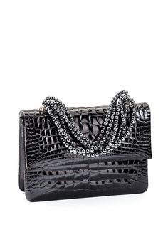 Black Crocodile & Hematite Mini Handbag from Darby's Necklace Collection. Hematite beaded necklace handle. Convertible with strap attached to inside hooks. Fully lined, inside ticket pocket. 7.25 x 5.