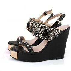 Wedges!!Wedges!!Wedges!!Wedges!!Wedges!!Wedges!!Wedges!!Wedges!! Gem-crusted Wedge Sandal in Black. Wanted shoes!