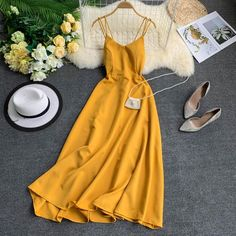 Sexy Spaghetti Strap Long Dress Women Elegant Backless Dresses Vintage Beach Party Maxi Dress Robe Vestidos Size S Color 1 Summer Holiday Dresses, Summer Outfits, Summer Dresses, Yellow Dress Summer, Beach Outfits, Pretty Dresses, Women's Dresses, Vintage Dresses, Awesome Dresses