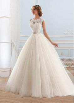 Junoesque Tulle Bateau Neckline Ball Gown Wedding Dress