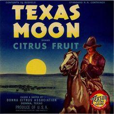 Donna, Texas TX - Vintage Texas Moon Cowboy Orange Citrus Fruit Crate Box Label Advertising Art Print.