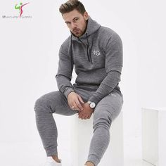 0705a515cac New 2018 Spring Set Men s Fashion Sportswear Tracksuits Sets Men s  Bodybuilding Hoodies+Pants casual Outwear Suits Size M-XXL