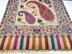 Pure Pashmina All Over Kani Shawl, Paisley Design White Kani Shawl Wrap,  Hand Woven Art, Women Wrap, Kashmiri Kani Shawl, Girl, Kani, Weave 1e9de8ea183