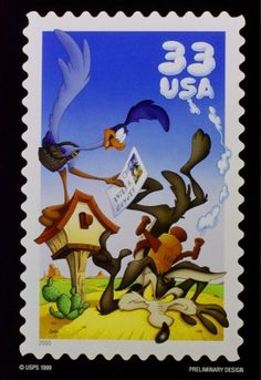 The U.S. Postal Service announced Wednesday Oct. 13, 1999 the designs for some of its 2000 postage stamps including one honoring the ever-frustrated Wile E. Coyote and his nemisis Road Runner. (AP Photo/USPS) #WB #LooneyTunes #WileECoyote #RoadRunner