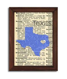 Texas Dictionary Print Wall art Texas Print on by PrintTransfer