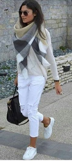 #spring #outfits woman wearing white long-sleeved shirt, pants, and pair of low-top sneakers outfit. Pic by @fashion__times__