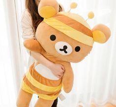 Rilakkuma bee bear plush toy 90 cm SAN-X/Rilakkuma轻松小熊/轻松熊 蜜蜂熊哥公仔/长枕 抱枕