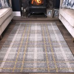 Modern Grey & Ochre Check Tartan Living Room Rugs - Bombay at Kukoon - UK's leading Rug Specialist. Bedroom Carpet, Living Room Carpet, Rugs In Living Room, Living Room Designs, Beige Carpet, Diy Carpet, Carpet Ideas, Modern Carpet, Stair Carpet