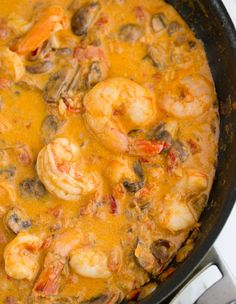 This Shrimp and #Mushroom Sauce is luscious, juicy and just succulent. It's great over mashed #potatoes, rice or #pasta, making it an all-around great dish!