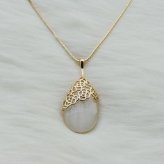 Long chain necklace with a white jade rose tear pendant,Big pendant necklace,Long necklace,Fashion necklace,Prom necklace,Unique necklace,