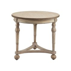 This round accent table is transitionally styled and features an oatmeal linen fabric top, double brass finished nailhead design around top edge, tri pod stretcher base and classic turned legs in an antique cream water based finish. Round Accent Table, Round Table Top, Accent Tables, French Decor, French Country Decorating, Country French, Country Chic, Wood Pedestal, Chair Side Table