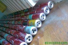 Calefactor solar gratis con latas de refresco o cerveza.   Ecocosas