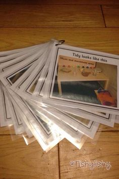 Tidy cards - To help the children to replace the resources after use, I photographed all the areas and displayed the photos on the shelf. I also made copies to use at tidy time when I give the cards to groups of children.