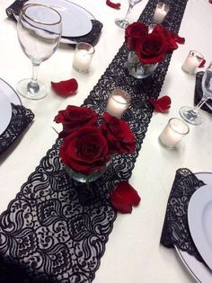 Lace Runner, Lace Table Runners, Black Lace Table, Wedding Flowers, Wedding Day, Table Wedding, Wedding Table Settings, Wedding Planning, Wedding Inspiration