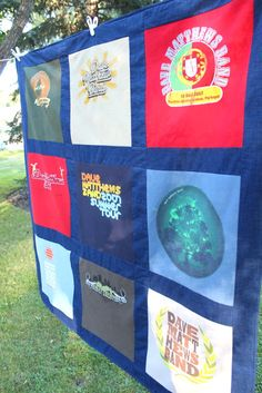 Such a cool idea for a blanket...I have seen the sports shirts/jersey blanket but never thought of a favorite band one...love this idea!