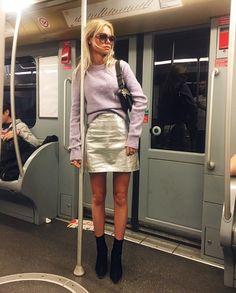 Claartje Rose, Dutch blogger, purple sweater, acne, metallic skirt