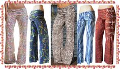 Undie Couture Lounge Pants in new prints!! High quality, amazingly soft fabric make these the ultimate Lounge Pants. Wear them at home for everyday lounging activities, out for a leisurely stroll, to the market or just for fun. Fold over waist panel can be adjusted up or down per ur personal preference & flatters any shape. Simply cut the bottoms to the length that fits u perfectly!