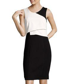 black and white crepe color block sheath dress