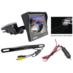 "Pyle 4.7"" Window Suction-mount Tft Lcd Monitor With Die-cast License Plate Mount Rearview Backup Color Camera & Distance-scale Line"