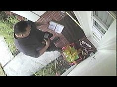 CCTV footage of a courier stealing a Christmas present