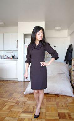 Jumper dress with shirt for colder days