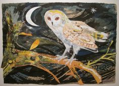 "My Owl Barn: Mark Hearld illustration titled, ""The Owl and the Moon""."