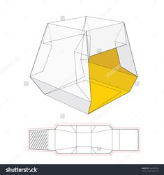 Presentation Tent Box With Die Cut Template Stock Vector Illustration 166250543 : Shutterstock