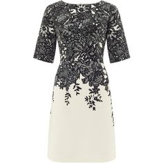 Adrianna Papell Black and ivory print dress (£140) ❤ liked on Polyvore featuring dresses, women, black sheath dress, half sleeve dress, short lace dress, black shift dress and adrianna papell dresses