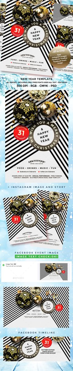 Elegant Christmas Flyer — Photoshop PSD #party #fairy Christmas Flyer Template, Christmas Templates, Template Flyer, Elegant Christmas, Christmas Holidays, New Year's Drinks, Image Facebook, Party Flyer, Nye Party