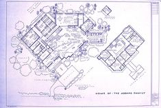 The addams family home at 0001 cemetery lane blueprints floor wonderful 24 x 36 blueprint of the addams family house made the old fashioned way with ammonia activated paper on a diazit blueprint machine malvernweather Gallery