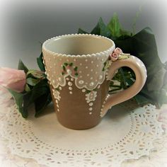 Antique Lace Mug by RomancingTheTeapot on Etsy