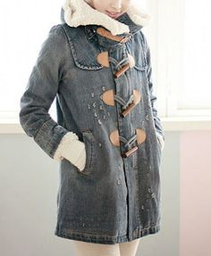 Detachable Lambswool Lining Hooded Denim Coat