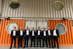 Groom & Groomsmen In Black Tie // London Wedding Venue For 300 People Trinity Buoy Wharf With Bride In Suzanne Neville And Images From Paul Joseph Photography Film This Modern Revelry Morning Suits, Looking Dapper, London Wedding, Groom And Groomsmen, Black Tie, Joseph, Wedding Venues, Bride, Film