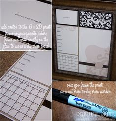 cute idea....create a template on the computer and print it out and put in a frame and use a dry erase marker on it