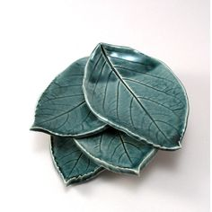 Ceramic Leaf Plates-Teal Pottery-Pottery Leaf Plates-Tapas... ($45) ❤ liked on Polyvore featuring home, kitchen & dining and dinnerware