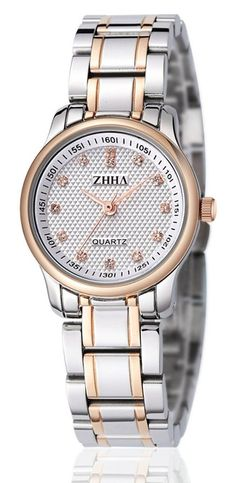 ZHHA Women's Watches 001 Quartz Gold Case Silver Stainless Steel Bracelet Wrist Watch Waterproof