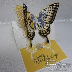 Butterfly Birthday Easel Card…..and technique video | Stamp With Bee