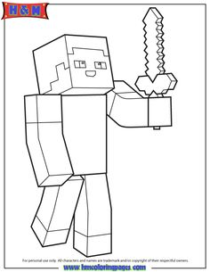 minecraft person holding sword coloring page coloring pages for boys printable coloring pages coloring