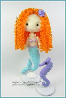 Felt mermaid and seahorse handmade by Gracinhas Artesanato