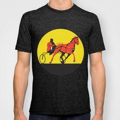 Horse and Jockey Harness Racing Circle Retro T-shirt