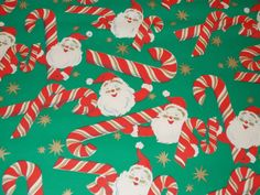 VTG CHRISTMAS WRAPPING PAPER GIFT WRAP MCM SANTA CANDY CANE GOLD STARS 1950 | eBay