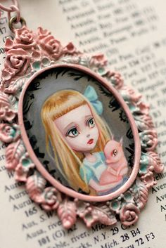 Alice and the Baby (pig) - original cameo by Mab Graves by mab graves, via Flickr