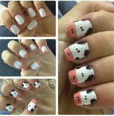 Cow nail art design . I know a friend with long enough nails to do this