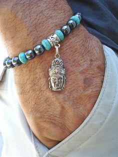 Bracelets pour hommes spirituels avec hématite, Turquoise et perles de Bali. Un charme de Bouddha Tibétain, une paix et un amour Turquoise fait de ceci un morceau OOAK. Très élégant bracelet correspond à un poignet de 7 1/2 à 8 1/2 pouces puisquil a été de perles avec cordon élastique de haute qualité. Laissez-nous savoir si nous devons adapter à la taille de votre poignet. Vous pouvez mesurer votre poignet avec une chaîne et la chaîne puis de mesurer avec une règle.